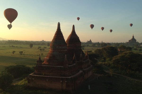 Pagoda view at sunrise in bagan